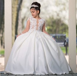 $enCountryForm.capitalKeyWord UK - Fashion Beaded Lace Ball Gown Flower Girl Dresses For Wedding Plunging Neck Pageant Gowns Long Sleeves Satin Backless First Communion Dress
