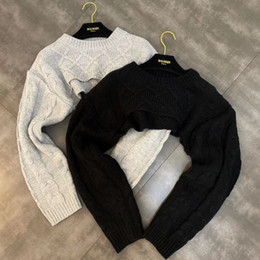 Wholesale cropped sweaters resale online - DEAT Autumn Winter Long Sleeve O Neck Short Knitted Pullovers Sweater Women Loose Free Size Cropped Jumper MH349