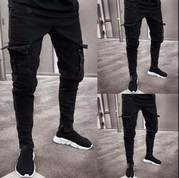 plus size destroyed jeans Australia - 2019 Fashion Black Jean Men Denim Skinny Biker Jeans Destroyed Frayed Slim Fit Pocket Cargo Pencil Pants Plus Size S-3XL