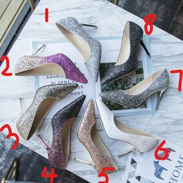 Ankle Chain Pumps NZ - Cheap Summer Women's low-cut Pumps Lady rhinestones Silver Gold Burgundy bottom High heel shoes for Female wedding bride dress v shoes