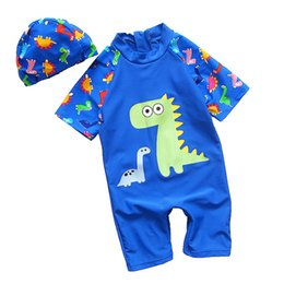 $enCountryForm.capitalKeyWord UK - Boys One Piece Swimsuit Toddler Baby Beach Bathing Suit Short Sleeve Surfing Clothing Cartoon Dinosaur Children Swimwear Kids