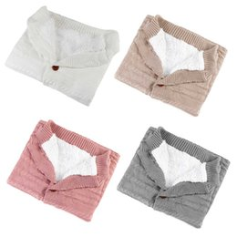 cotton knit tops NZ - Winter Baby Sleeping Bag Swaddle Toddler Blanket Newborn Baby Boy Girl Infant Button Cotton Thick Quilt Warm Wool Knit