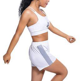 $enCountryForm.capitalKeyWord Australia - Women Bra Shorts 2pcs Sexy Running Suits Reflective Stripe Patchwork Summer Body Building Yoga Sets Fitness Sports Workout Suits