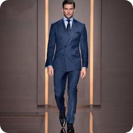 $enCountryForm.capitalKeyWord Canada - Custom Double Breasted Dark Blue Men Suits Casual Male Blazers Man Jacket Slim Fit Groomsmen Coat Pants 2Piece Latest Designs Costume Homme