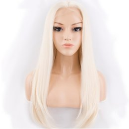 $enCountryForm.capitalKeyWord Australia - Free Shipping Light Blonde Long Straight Wigs for Women Glueless Synthetic Lace Front Wigs 18 Inches Natural Straight Heat Resistant Fiber