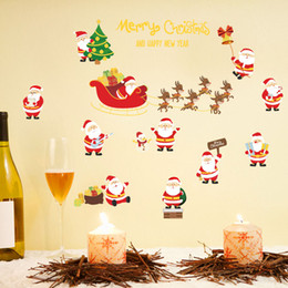 $enCountryForm.capitalKeyWord Australia - Merry Christmas home decoration festival wall stickers removable Santa Claus deer pattern shop window decor murals