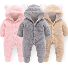 $enCountryForm.capitalKeyWord Australia - Designer Baby Clothes Solid Baby Girls Hooded Rompers Warm Infant Boy Jumpsuits Cute Toddler Outwear Christmas Baby Clothing 3pcs DW4158