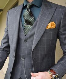 $enCountryForm.capitalKeyWord Canada - Classic Plaid Groom Wedding Tuxedos Mens Prom Pants Suits Formal Business Work Blazer Custom Made Clothes