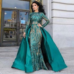 detachable prom dresses UK - 2020 Dark Green Actual Image Prom Dresses Long Sleeves Sequined Lace Mermaid Detachable Train Sequins Champagne Red Evening Party Gowns Wear