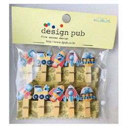 Bookmarks Set NZ - 10 Pcs Set Creative Rocket Spacecraft Wooden Clip Photo Clips Party Decoration Clip with Rope
