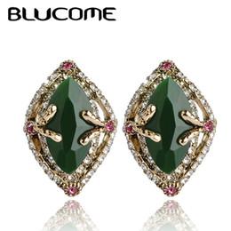 $enCountryForm.capitalKeyWord NZ - heap Stud Earrings Blucome Vintage Style Green Austria Crystal Big Stud Earrings French Hooks Resin Women Wedding Dress Accessories Exqui...