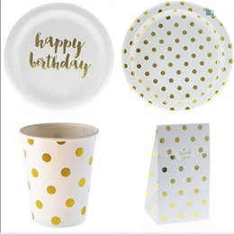 disposable plate for birthday party 2019 - Gold Dot Disposable Tableware Sets Happy Birthday Party Cup Plate Party Tableware for Wedding Decor Kids Supplies discou