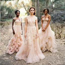 $enCountryForm.capitalKeyWord Australia - Vintage Blush Lace Beach Garden Wedding Dresses Sexy Deep V neck Cap Sleeve Layered Reem Acra Lace Long Bridal Gowns DH4117