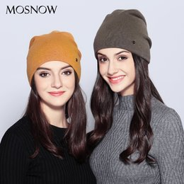 $enCountryForm.capitalKeyWord Australia - MOSNOW Women's Hats Female Wool Casual Autumn Winter Brand New Double Layer Thick 2017 Knitted Girls Skullies Beanies #MZ725 S18120302