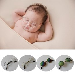 Discount infant sunglasses - Fashion Newborn Glasses Photography Props Infant Baby Metal UV400 Protection Sunglasses Round Glasses Photography Props