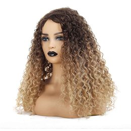 black women braided hair styles NZ - synthetic lace front wigs European American style gold brown gradient black small volume wig full lace human hair wigs women braided wigs
