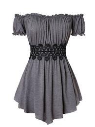 Lace Shirt Plus Size Australia - Wipalo Plus Size T-shirts 5xl Lace Insert Off The Shoulder Lace T Shirt Long Shirts High Waist Casual Vintage Gothic Tops Femme J190618