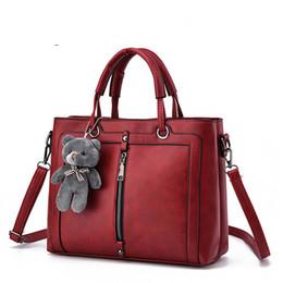 Dark Red Ladies Handbags Australia - Red Vintage Bag Designer Handbags High Quality Cute Bear Women Leather Brand Tote Shoulder Ladies Hand Bag