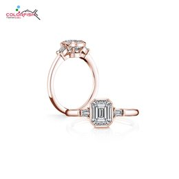 $enCountryForm.capitalKeyWord Australia - Colorfish Solid 925 Sterling Silver 2ct Ring For Women Rose Gold Filled Square Cut Bezel Set Synthetic Nscd Sona Ring Engagement MX190718