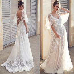 $enCountryForm.capitalKeyWord UK - Sexy Berta Beach V-neck A Line Wedding Dresses Illusion Lace Open Back Bridal Gowns Boho Wedding Dress Cheap High Quality Gowns