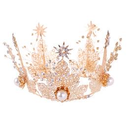 2019 Luxury Golden Alloy Leaves Rhinestone Baroque Tiaras Pearl Hairband  Bride Hair Jewelry Crown Women Hair Accessories f059476dd1be