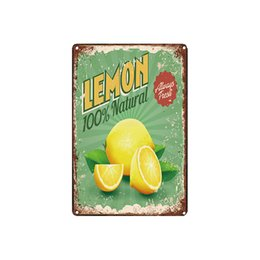 fresh fruit decorations 2020 - classic vintage retro FRESH FRUITS LEMON STRAWBERRY FAST FOOD tin sign Coffee Shop Bar decoration Bar Metal Paintings