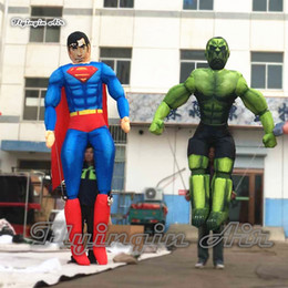 Wholesale Customized Cartoon Character Inflatable Super Hero Puppet Iron Man Superman Hulk Magneto Captain Batman Spiderman Costume For Parade Show