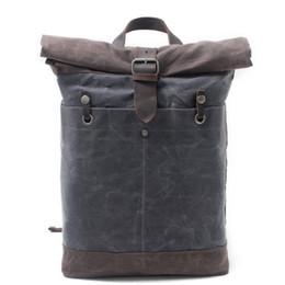 $enCountryForm.capitalKeyWord NZ - Waxed Canvas and Leather College School Backpacks Vintage Travel Rucksack Waterproof Hiking Daypack fits 15-inch Laptop