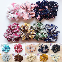 hair designs headband Australia - 18 styles Floral Flamingo headband Design girl hair accessories Scrunchie Ponytail Hair Holder Rope scrunchy basic hairband Wholesale AJY818