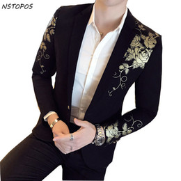 Wholesale stage costumes singers resale online - Gold Black Blazer Flower Gold Print Party Wedding Festival Stylish Blazers For Men Stage Costumes For Singers Slim Fit Blazer