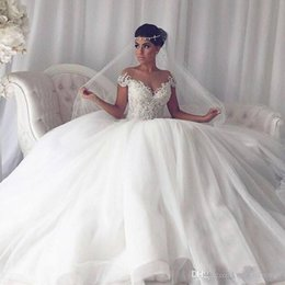 Discount modern wedding dresses online - Arabic White Ball Gown Wedding Dresses With Lace Off Shoulder Cap Sleeve Tulle Floor Length Wedding Gowns Bridal Dresses