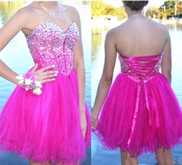 $enCountryForm.capitalKeyWord Australia - Fuschia Tulle Short Party Prom Gowns with Rhinestone Sweetheart Plus Size Homecoming Dresses Lace Up Back Cheap Dress