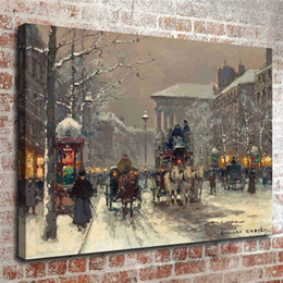Canvas Print Paris Australia - Edouard Cortes, Winter Scene In Paris,1 Pieces Home Decor HD Printed Modern Art Painting on Canvas (Unframed Framed)