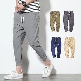 $enCountryForm.capitalKeyWord Australia - Cotton Linen Joggers Black Men's Harem Pants Harajuku Fitness Casual Ankle-Length Mens Trousers Summer Streetwear Clothes Male