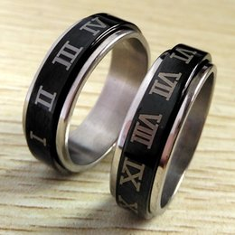 $enCountryForm.capitalKeyWord UK - 30pcs Black Roman Numerals 316L Stainless Steel Spinner Rings Men's Band Spin Ring Male Cool Ring Wholesale Fashion Jewelry Party Gift Favor
