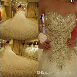 $enCountryForm.capitalKeyWord Australia - Luxury Bling Ball Gown Wedding Dresses Cathedral Royal Train Shiny Crystal Rhinestones Stones Sequins Beading Bridal Gowns vestidos de novia