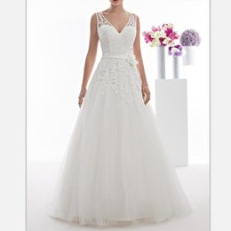 $enCountryForm.capitalKeyWord Australia - Elegant White Lace Floor Length Wedding Dresses 2019 Sexy V Neck Bridal Gowns Custom Simple Backless Country Wedding Gowns With Sashes