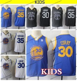 watch ea8bf d27fd 2019 Kids Golden Stephen Curry 30 Kevin Durant #35 Basketball Jerseys Youth  Stephen Curry Blue Black White Yellow Boys Stitched Shirts