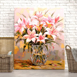 Wholesale New Diy digital oil painting Lily blooming 40*50 frameless coloring hand-painted Living room bedroom decoration painting on Sale