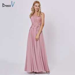 evening dresses peach chiffon 2019 - Dressv peach long evening dress cheap scoop sleeveless a line zipper up wedding party formal dress appliques evening dre