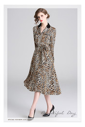 leopard print lining Australia - New 2019 Spring V Sleeve Neck A Line Vintage Dresses, Size S-XXL, Leopard Print Design Fashion And Graceful Ladies Dress
