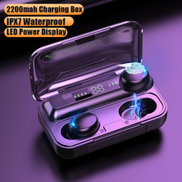 Wholesale F9-5 Wireless Headphones 5c TWS Bluetooth 5.0 Earphones 2200mAh Charging Box With Microphone Sport Waterproof Headsets Earbuds