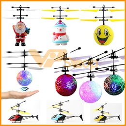 Wholesale helicopter big online – design New Flying Toys Mini RC Drone Santa Claus Ball Emoji Snowman Infrared Induction LED Light Flying Helicopter for Kids Christmas Gift