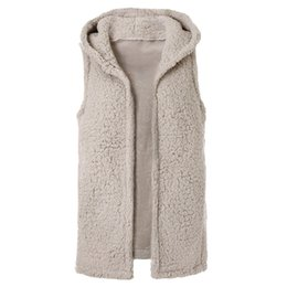 China Women Winter Fluffy Vest Jacket Autumn Fluffy Coat Hoodies Fleece Coat Sleeveless supplier fleece hooded vest women suppliers
