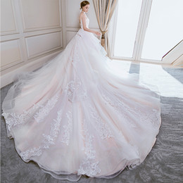 Large White Flower Brooch Australia - Wedding dress new brides luxury long tail wedding princess dream show thin Sen tie large size girl