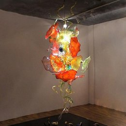 italy art UK - Stained Glass Chandelier Lighting Fancy Hanging Traditional Hand Blown Glass Chandelier Italy Flower Design Crystal Chandelier Free Shipping