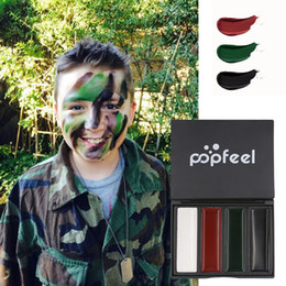 painting faces Australia - Outdoor Camouflage Oil Face Paint 4 Colors Army Fan CS Camouflage Body Paint Makeup Tool