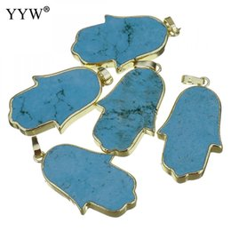 $enCountryForm.capitalKeyWord Australia - 1pcs Hamsa Hand Natural Stone Pendant for DIY Necklace Jewelry Making Synthetic Turquoises Pendants Gold Color Plated 19x33x5mm