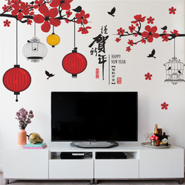 Window Stickers For Birds Australia - chinese new year wall stickers window glass TV background decoration festival tree bird lantern wall decals store mural D19010902