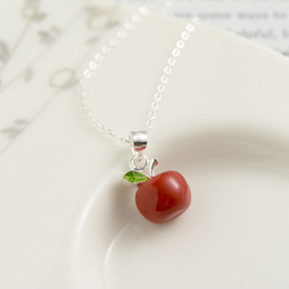 $enCountryForm.capitalKeyWord Australia - Korean Style Women Choker Necklace Red Apple Ball Shaped Pendant 925 Sterling Silver Cute Fruits Necklace Girl Christmas Jewelry